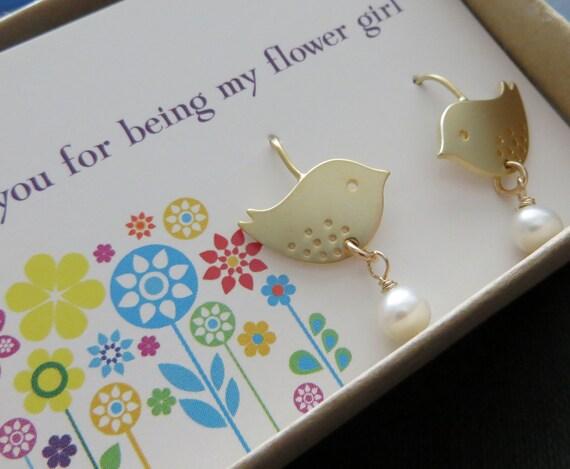 Flower girl bird earrings, bird dangle earrings with pearl, gift for flower girls, wedding party, little bird