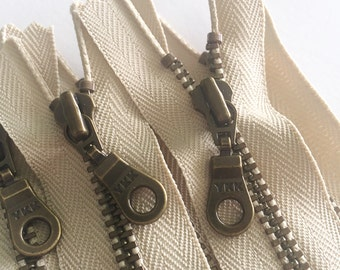 YKK Antique Brass Metal Donut Pull Zippers - (5) Pieces - Khaki 010- Currently available in 7,8, and 10 inches