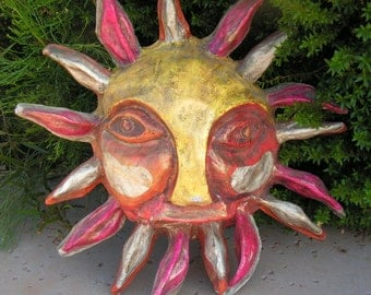 Vintage Paper Mache Large Sun Face Sculpture 3D Wall Art Hanging Mexican Folk Art Southwestern Home Decor