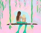 """Mermaid Art Mermaid Painting Mermaid Wall Mermaid Decor Mermaid Home Decor Mermaid Art Print """"Sharing A Lovely Day"""" Leslie Allen Fine Art"""