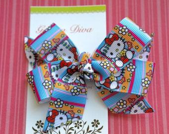 Flower Child Kitty Classic Diva Bow