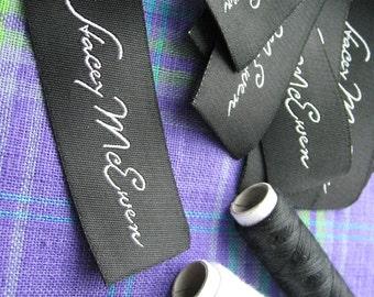 500pcs Custom Damask Woven Labels (Letter Only) for Robes,Backpacks,Tunics,Hoddies,Tee,Shorts,Jeans,Leggings,Yoga Pants,Jumpsuits,Hats,Coats