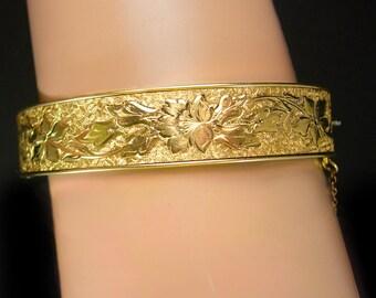 Antique Victorian enamel bracelet taille d' epergne wedding Gold bangle 12kt gold filled FM Company