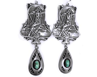 Bohemian Nude nouveau goddess gothic sterling earrings with large turquoise sterling drop