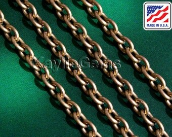 Made in USA - Quality Brass Chain 4x5mm Oval Link Cable Chain Unplated Raw Brass - 6 ft