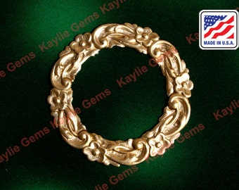 Victorian Floral Flower Wreath Ornate Round Circle Filigree Stamping Natural Brass - 2pcs