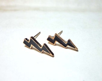 Black Enamel Lightning Bolt Earrings, Dainty Earrings