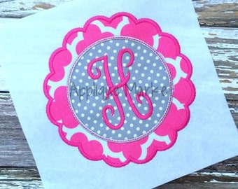 Machine Embroidery Design Applique Scallop Circle with Topstitching INSTANT DOWNLOAD