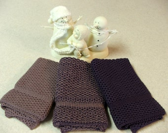 Dishcloths Knit in Cotton in Eggplant and Thistle