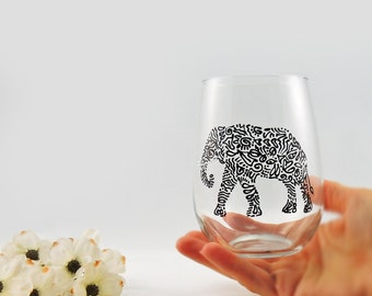 Elephant glass - Hand painted stemless white wine glass - Safari Collection