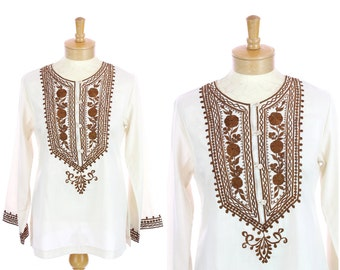 Embroidered Hippie Blouse Retro Brown Cream Top Shirt Boho Floral Details 70s Vintage Small S
