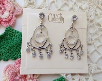 Vintage Signed Celebrity Chandelier Dangle Drop Rhinestone Earrings On Original Card NOS New Old Stock