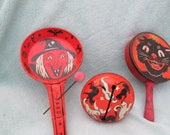 PRICE REDUCTION - Vintage Halloween Tin Noise Makers  Lot of 4