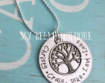 Personalized Hand Stamped Family Tree Necklace