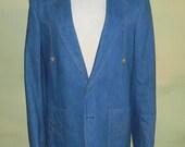 38/40 Slim Fit Vintage 70s 80s Lee Brushed Denim Blazer Jacket Western Wear Cowboy Town Coat