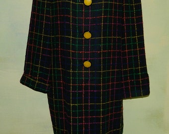 L 80s David Hayes Sax Fifth Avenue Slubbed Wool Windowpane Plaid Sack Dress Big Yellow Buttons