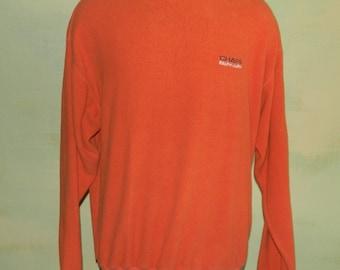 M Vintage Ralph Lauren Chaps Shirt Dark Orange and Navy Blue Ringer Long Sleeve Crew Neck Pull Over Terry Cloth