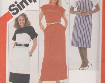 Simplicity 6024 Misses' Pullover Dress in Two Lengths and Sash Sizes 10, 12 , 14 Vintage UNCUT Pattern Easy