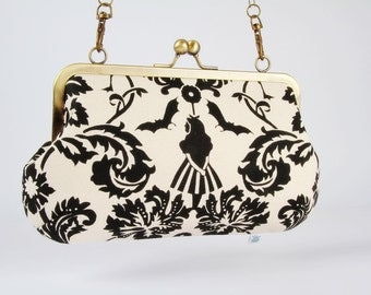 Metal frame purse with shoulder strap - Alice in Wonderland damask in black and white - Little handbag / Kisslock / Echino x Nunokara / Red