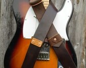 Brown Vegetable Tanned Leather Guitar Strap w/ pick holder  Wrought Iron leather (Monogramable). Priority Shipping