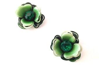 Vintage Green Enamel & Rhinestone Flower Clip-On Earrings