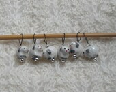 Knitting Stitch Markers - snag free - ceramic sheep beads - set of 6 - three loop sizes available