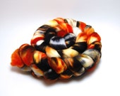 Handpainted Superfine Superwash Merino Wool Roving - Sleepy Hollow  - 4 oz Orange Gold Rust Black