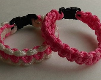 Breast Cancer awareness, set of two paracord bracelets
