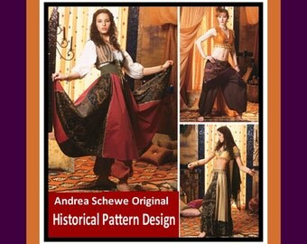 HISTORICAL TRIBAL DANCE Costumes-Designer Sewing Pattern-Three Stunning Styles-Belly Dancer-Gypsy Queen- Beledi Choli-Uncut-Size 6-12-Rare