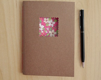 "Pink Flowered Notebook - handmade notebook with pink flowers - 4"" x 6"""