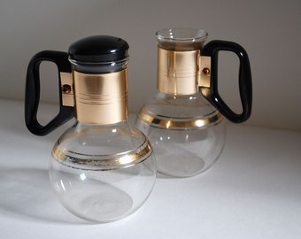 Pair Vintage Glass Mini Carafes Silex Coffee Servers Pitchers Creamers Mid Century Modern Mad Men 60s Mod MCM Modernist Vase Gilt