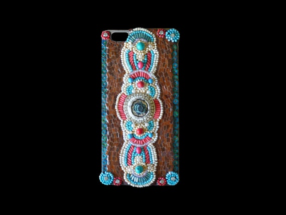 Iphone 6 Plus Cell Phone Case Mosaic Native American, Southwestern Style with Bead Work One of a Kind
