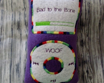 DOG TOY  Squeaky I PUP Handmade Fun  Rock Out to Bad to the Bone