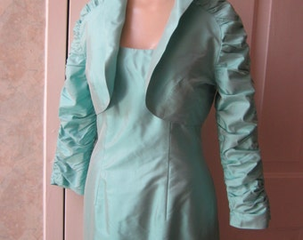 Vintage seafoam green fitted gown with jacket, size 4 iridescent silk gown bolero ruched jacket, mother of bride gown, body conscious gown