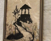 Antique Reverse Painted Picture Detailed landscape Scenery