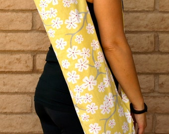 Yoga Mat Bag handmade, yellow with cherry blossoms pocket and drawstring, Yoga Tote, Sling, Sac, Sack, Carrier, or Holder Gift For Her