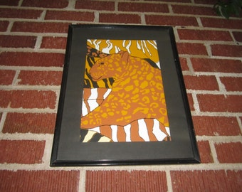 Vintage 1970s Dramatic Framed Leopard Original Gouache Painting