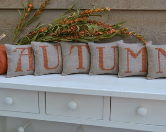 AUTUMN Shelf Sitters /Fall mantle Decor / Mini Pillows /Cross Stitched on Linen Burlap