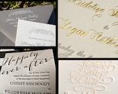 SAMPLE Letterpress Wedding Invitations