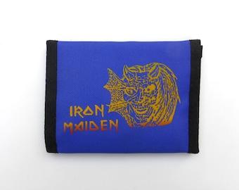 Vintage 1980s Iron Maiden Screenprint Velcro Blue Wallet