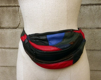 Fanny Pack Leather Vintage 1980s Patchwork Black Multicolor Leather Hip