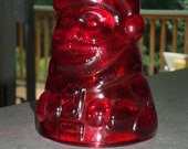 rare ruby red Viking Glass SANTA CLAUS fairy lamp glimmer light candle holder TOP only