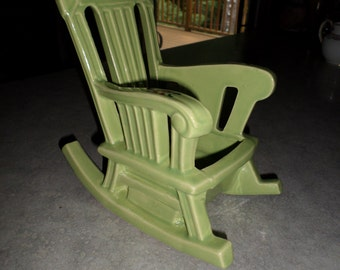 McCoy Pottery chartreuse lime green Rocking Chair planter vase holder with floral decoration
