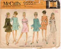 """Dart fitted Dress Ruffled Flounce Leg 'o Mutton Sleeves McCalls 9555 Misses Vintage 1960s  Size 8 Bust 31 1/2"""" Inch Square Neckline"""