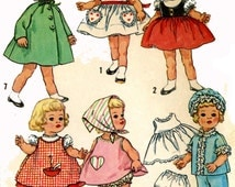 Chatty Cathy Doll Clothes PATTERN for 20.5 inch dolls by Ideal Dress puff sleeves Top heart pockets Pajamas Nightcap Scarf Coat Hood