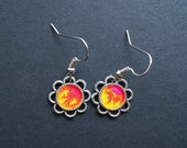 AMBROSIA AFFORDABLES 13 x13 mm Earrings Yellow Red