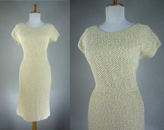 Vintage 1940s Dress Beige Crochet Wiggle Dress