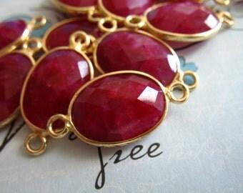 Shop Sale... 1 2 5 10 pc, Bezel Gemstone Connectors Links, Bezel Ruby Charm Pendant, 21.5x11.5 mm, Vermeil or Sterling Silver, gc gcl20 ll