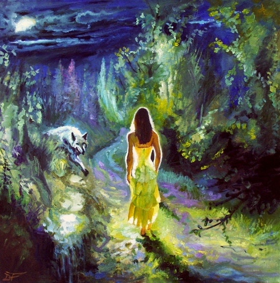 items similar to nightly encounter wolf oil painting on etsy