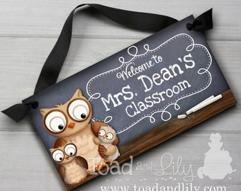 Teacher Chalkboard Classroom with Owls DOOR SIGN Teacher End of Year Christmas Present Gift TDS013